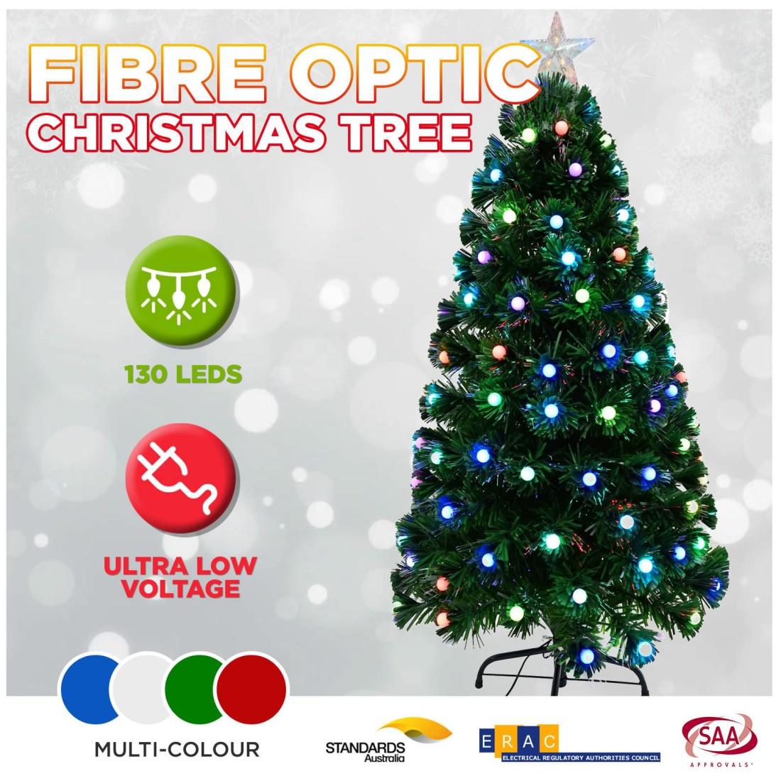 CLEARANCE 120cm LED Christmas Tree Fibre Optic Flashing Multi Colour Light Balls
