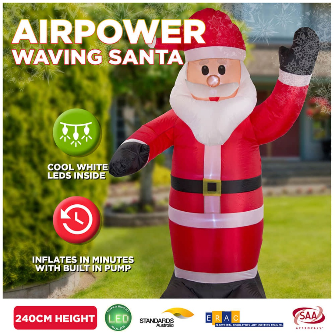 New 2.4m Inflatable Santa Wave LED Christmas Lights Outdoor Airpower Décor