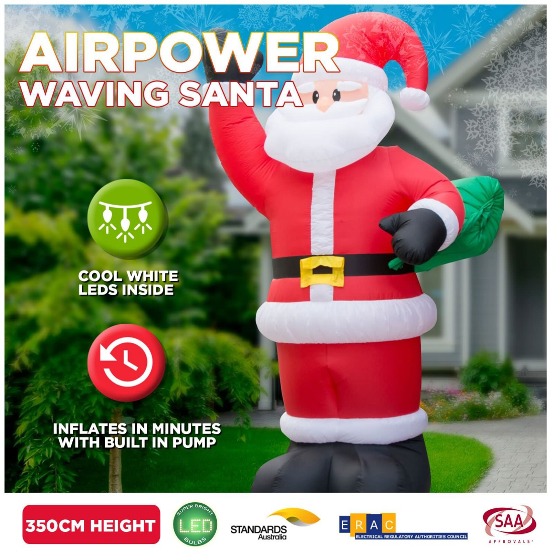3.5m Inflatable Giant Santa Sack LED Light Outdoor Christmas Airpower Decor
