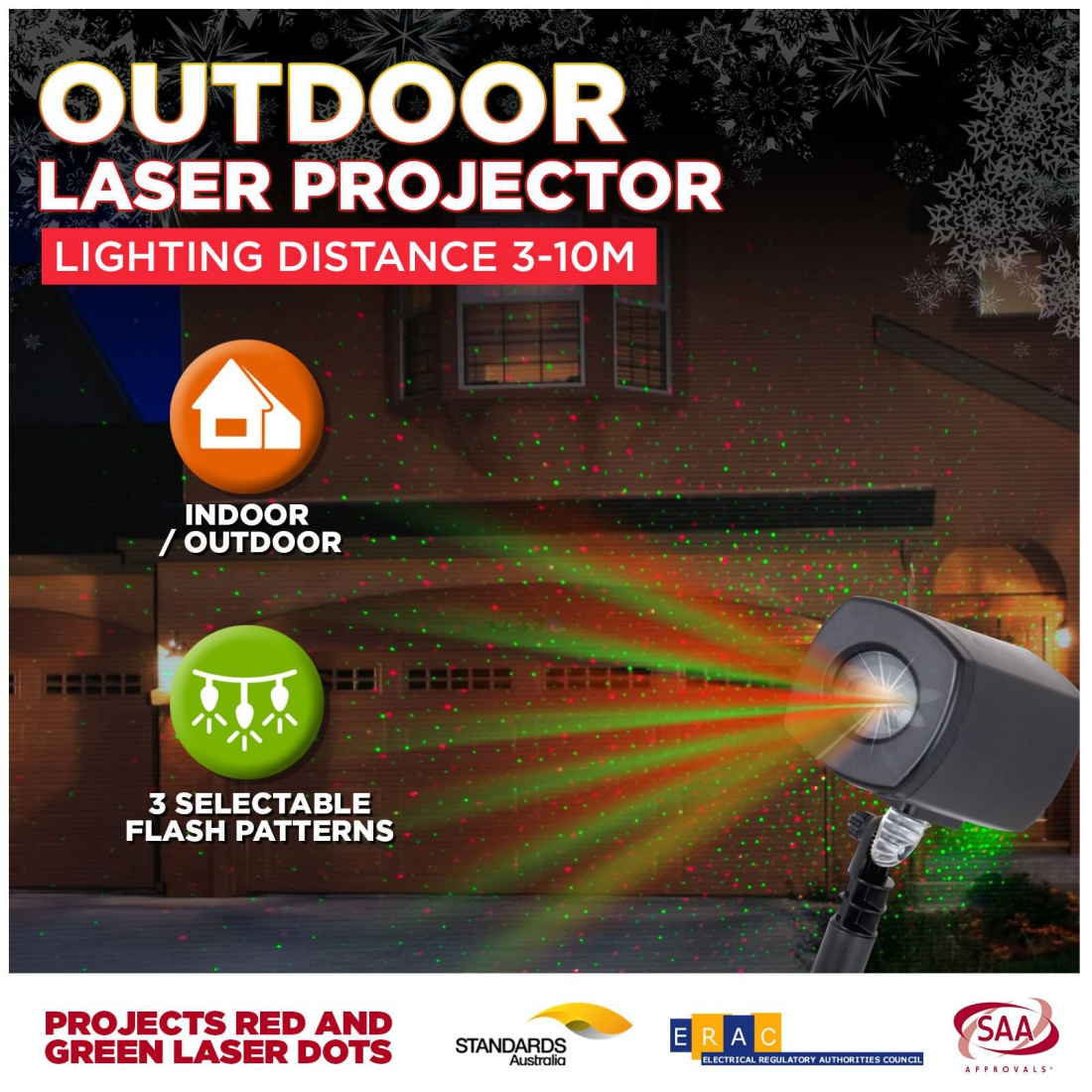 CLEARANCE Laser Light Projector Red Green Dots Flashing Garden Outdoor Christmas Decor