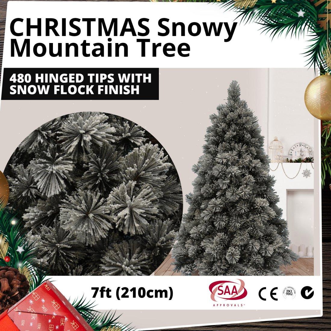 Snow Flocked Christmas Tree 210cm 7ft - Snowy Mountain