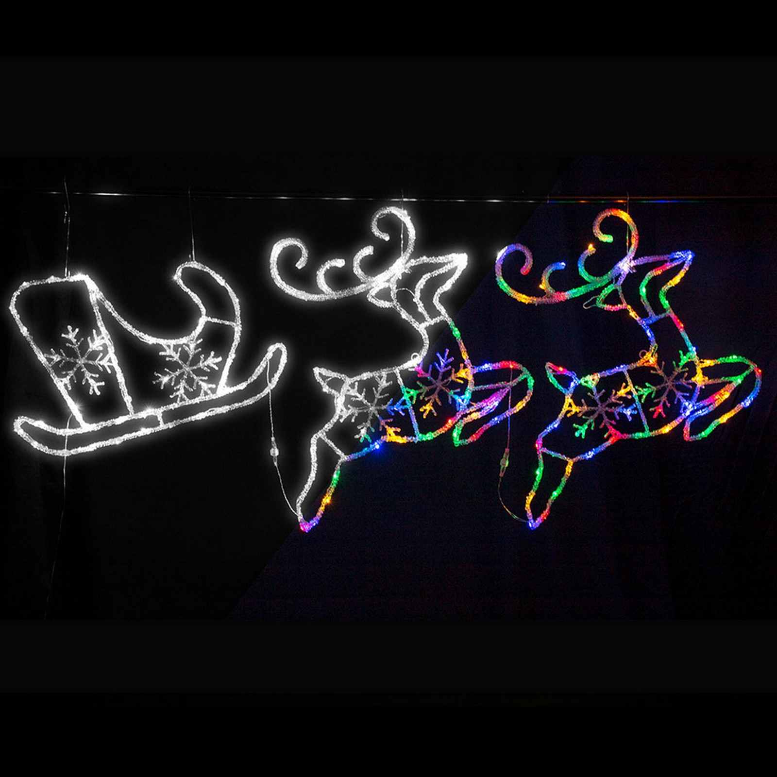 Led Acrylic 2-Deer Sleigh - Cool White, Multi Colour