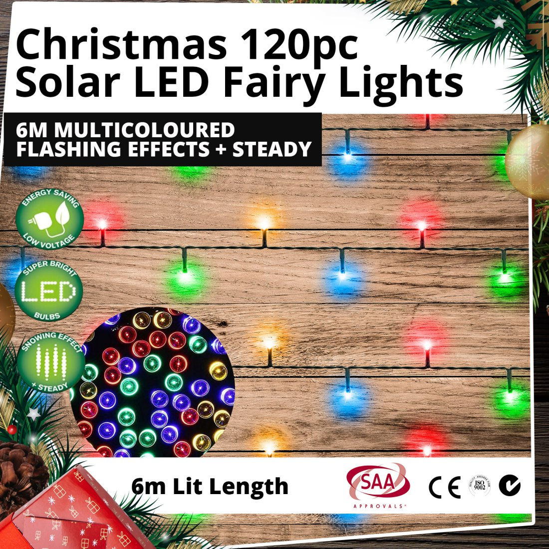 Christmas 120pc Solar LED Fairy Lights 6m Multicoloured Flashing Effects + Steady