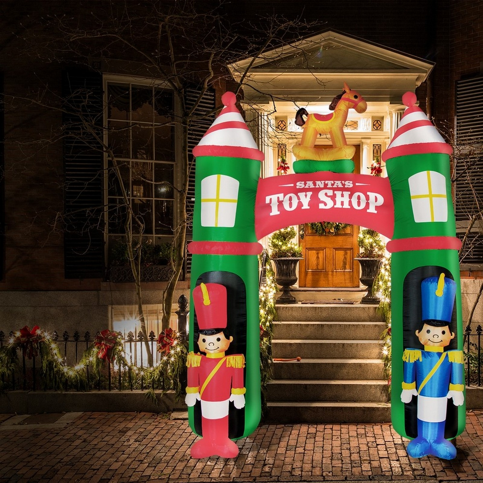 Airpower Toy Shop Arch With Nutcrackers - Cool White Led Bulbs