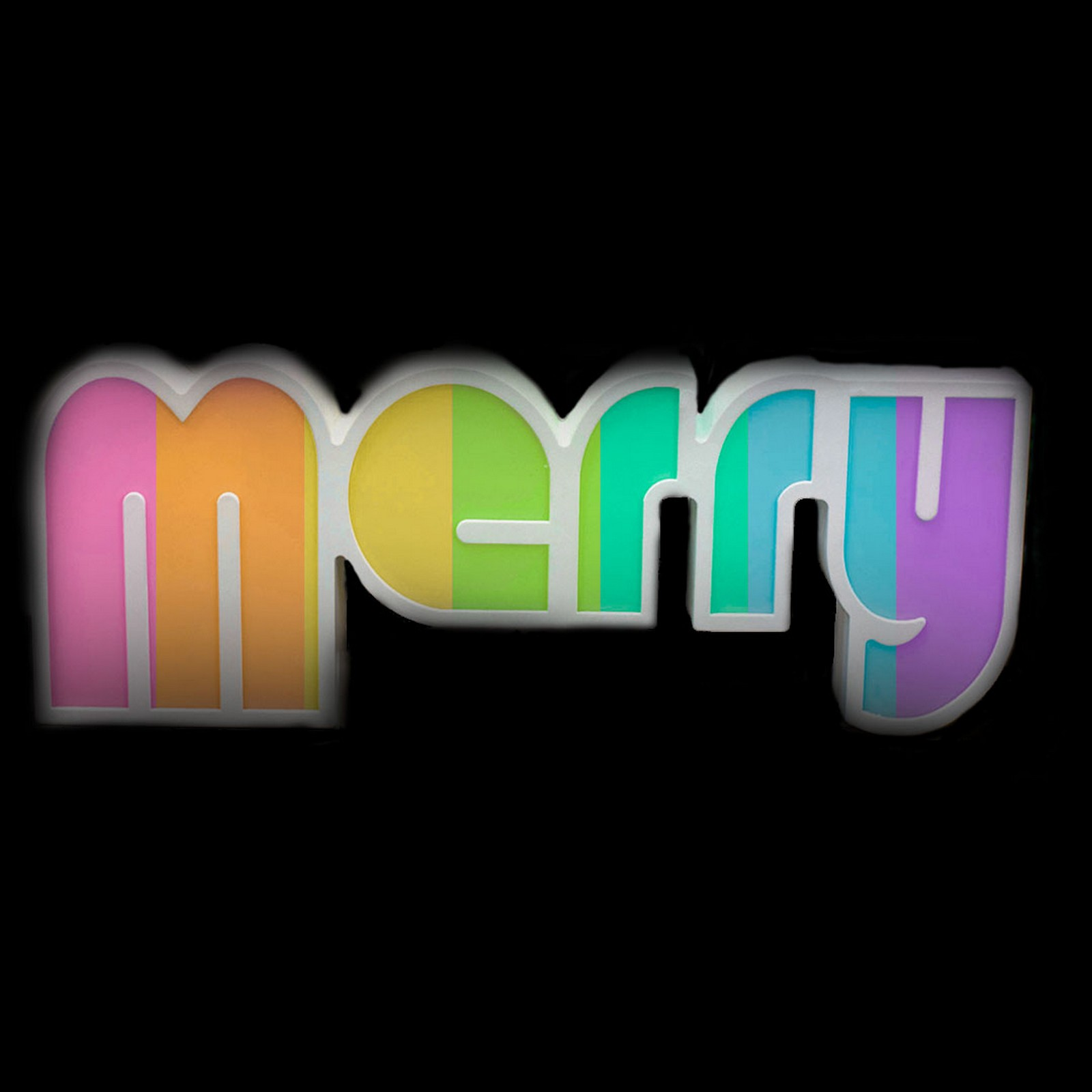 Led Merry Shelf Sign - Changing Rainbow Coloured Lights