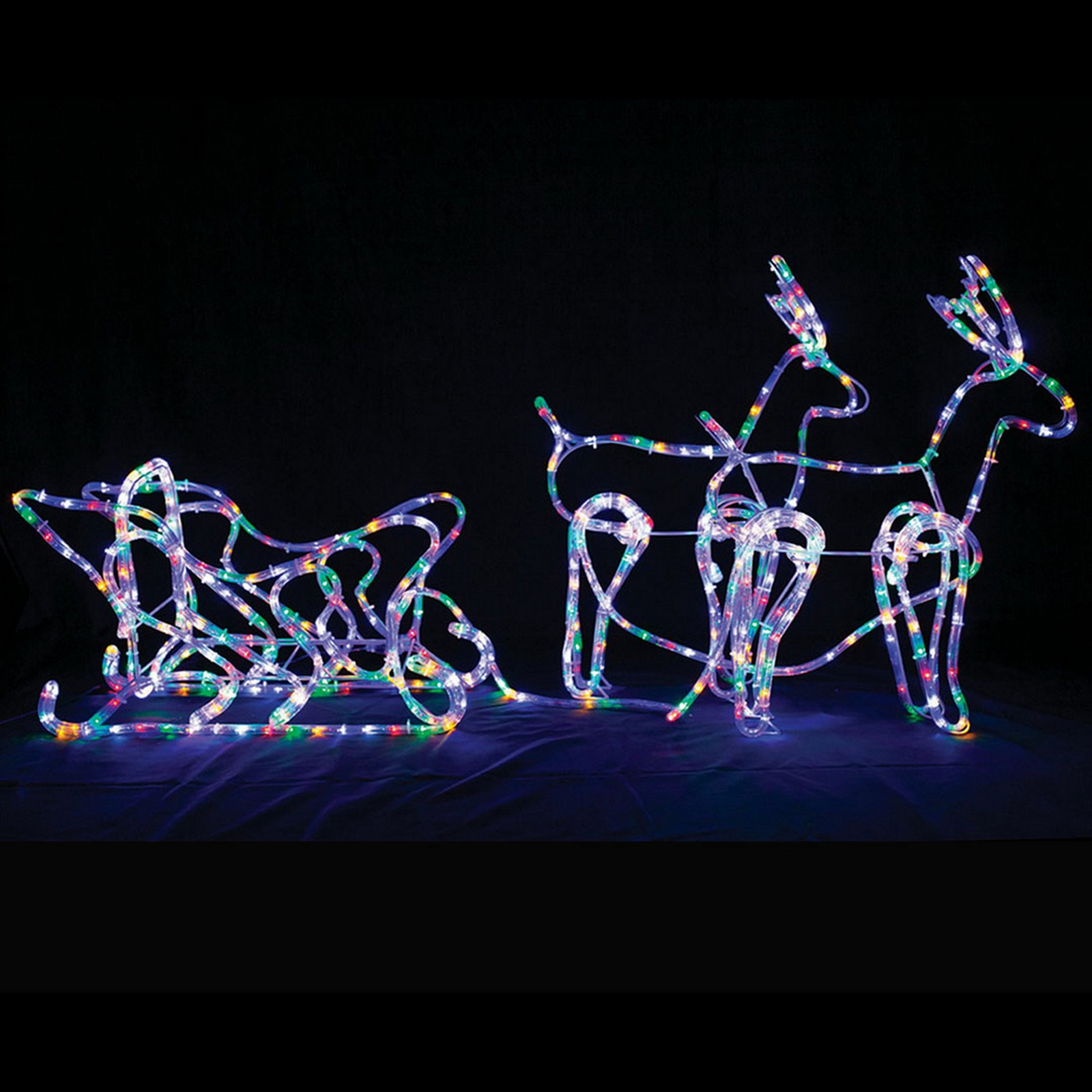 Led Twinkling Deer Sleigh Ropelight - Multi Colour