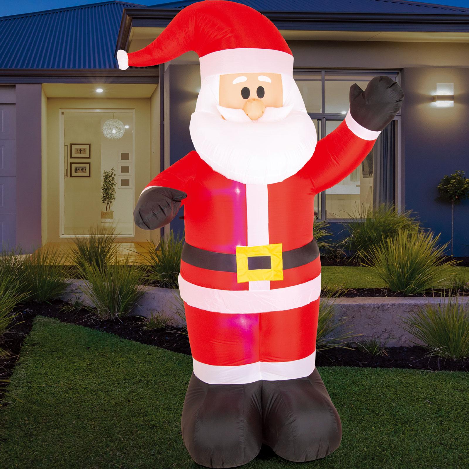 AIRPOWER WAVING SANTA Xmas Inflatable Outdoor Decor Lights Up 1 Piece 2.4m