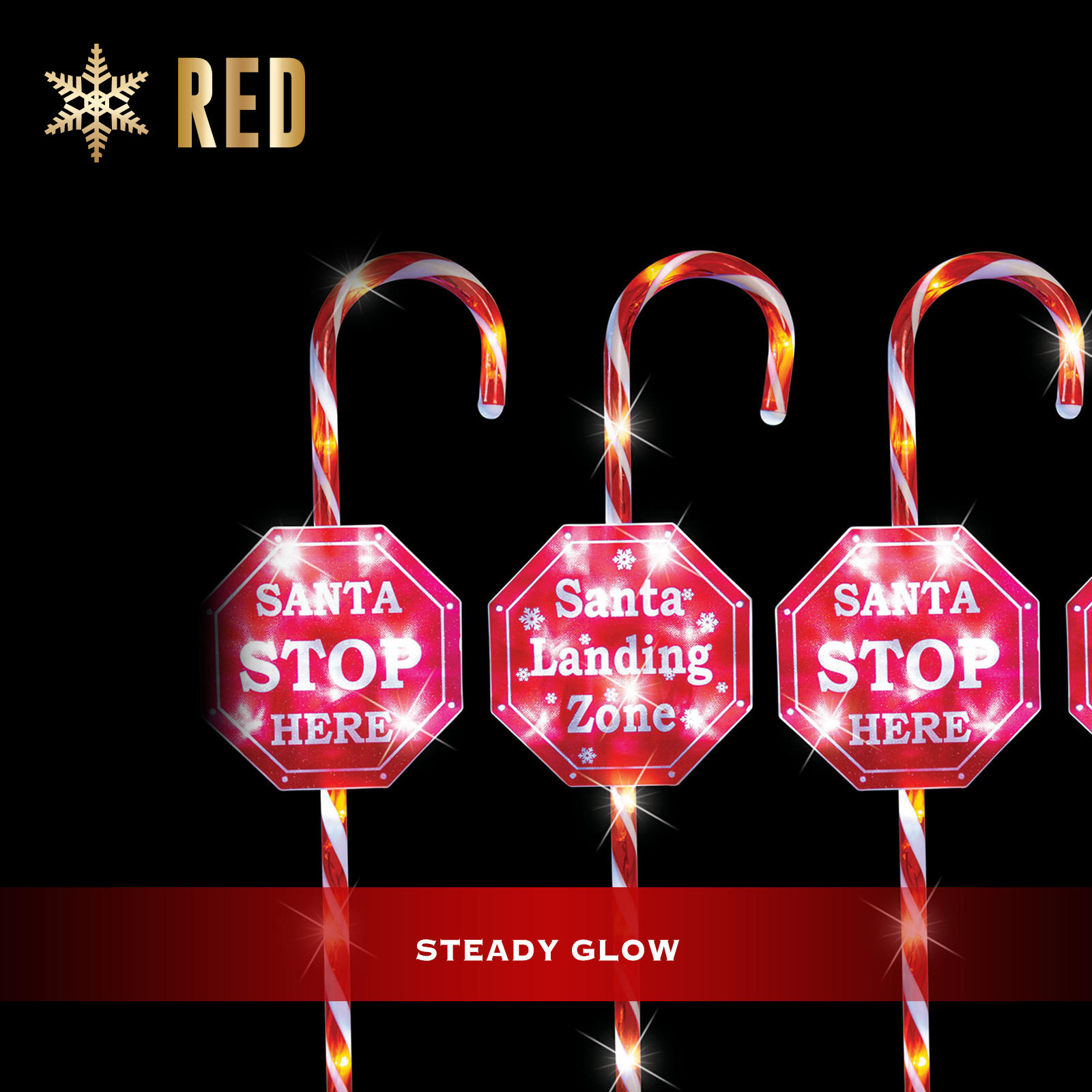 Christmas Lights 4pcs LED Candy Canes STOP Sign Path Outdoor Garden Decor 80CM