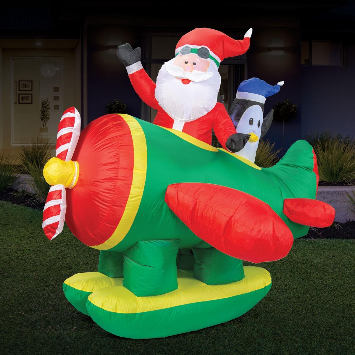 Christmas Lights Christmas Decorations Seaplane & Penguin Inflatable Décor 1.6m