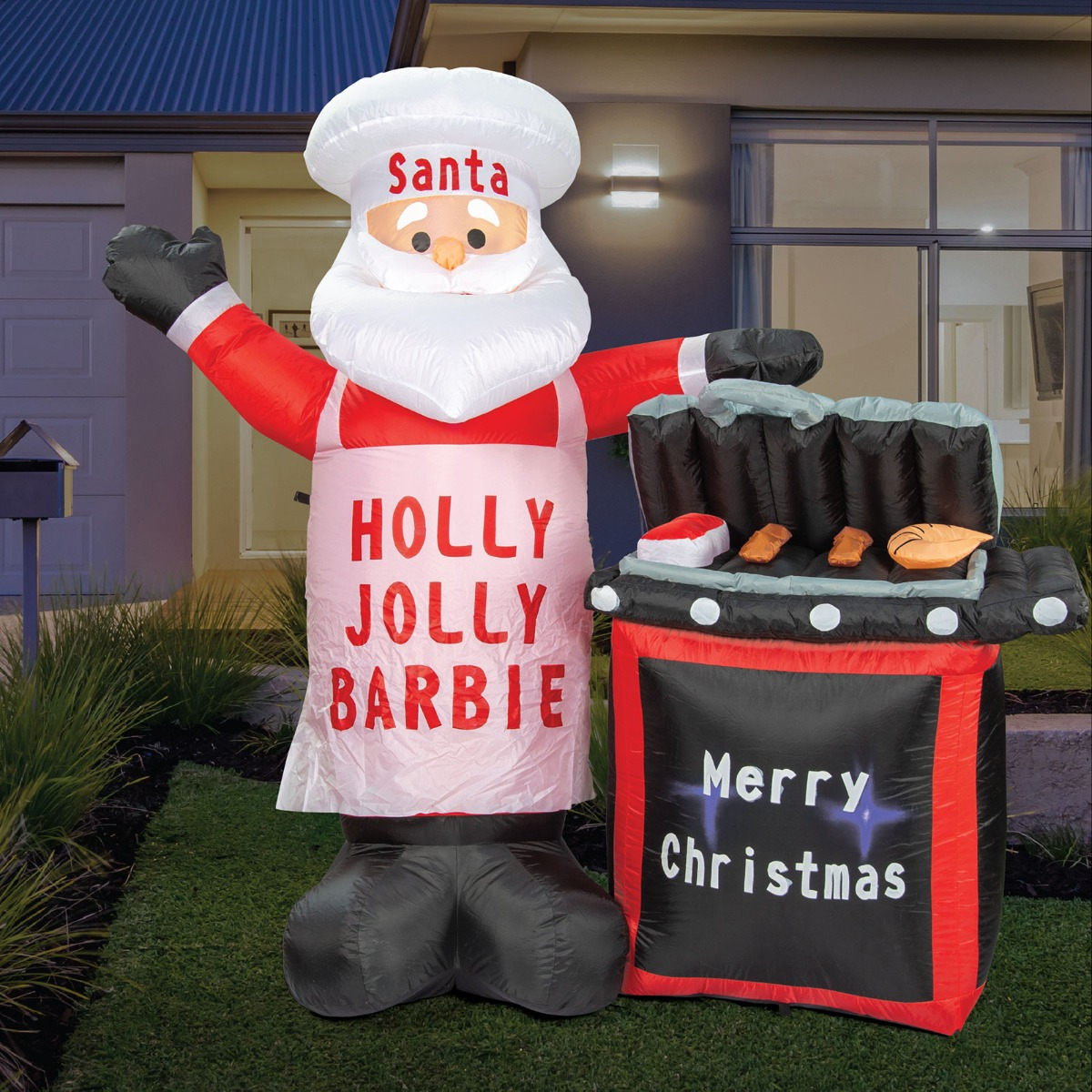 Christmas Lights Christmas Decorations BBQ Santa Inflatable Outdoor/Indoor 1.7m