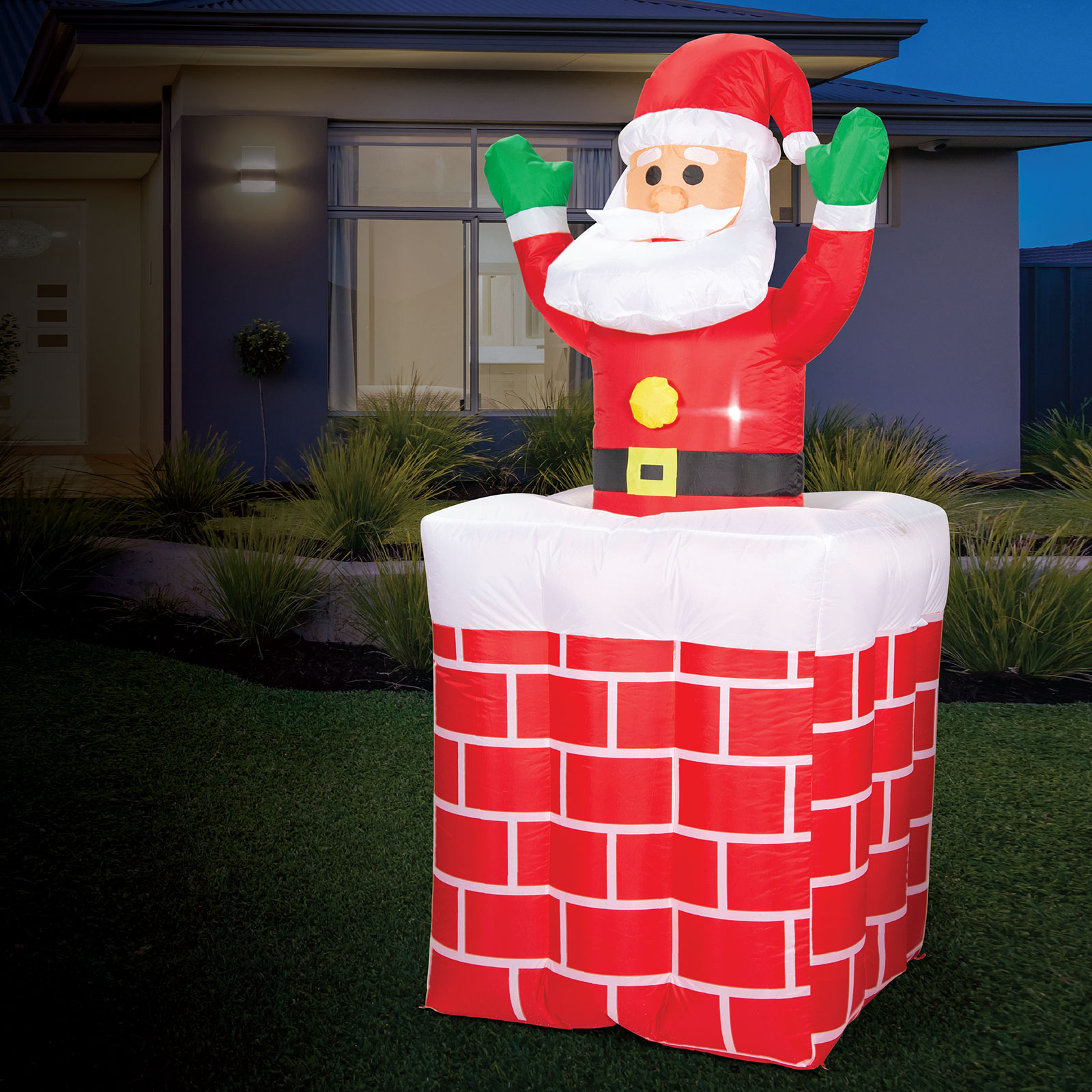 AIRPOWER SANTA Pop Up Chimney Christmas Inflatable Decor Lights Up Indoor 1.8m