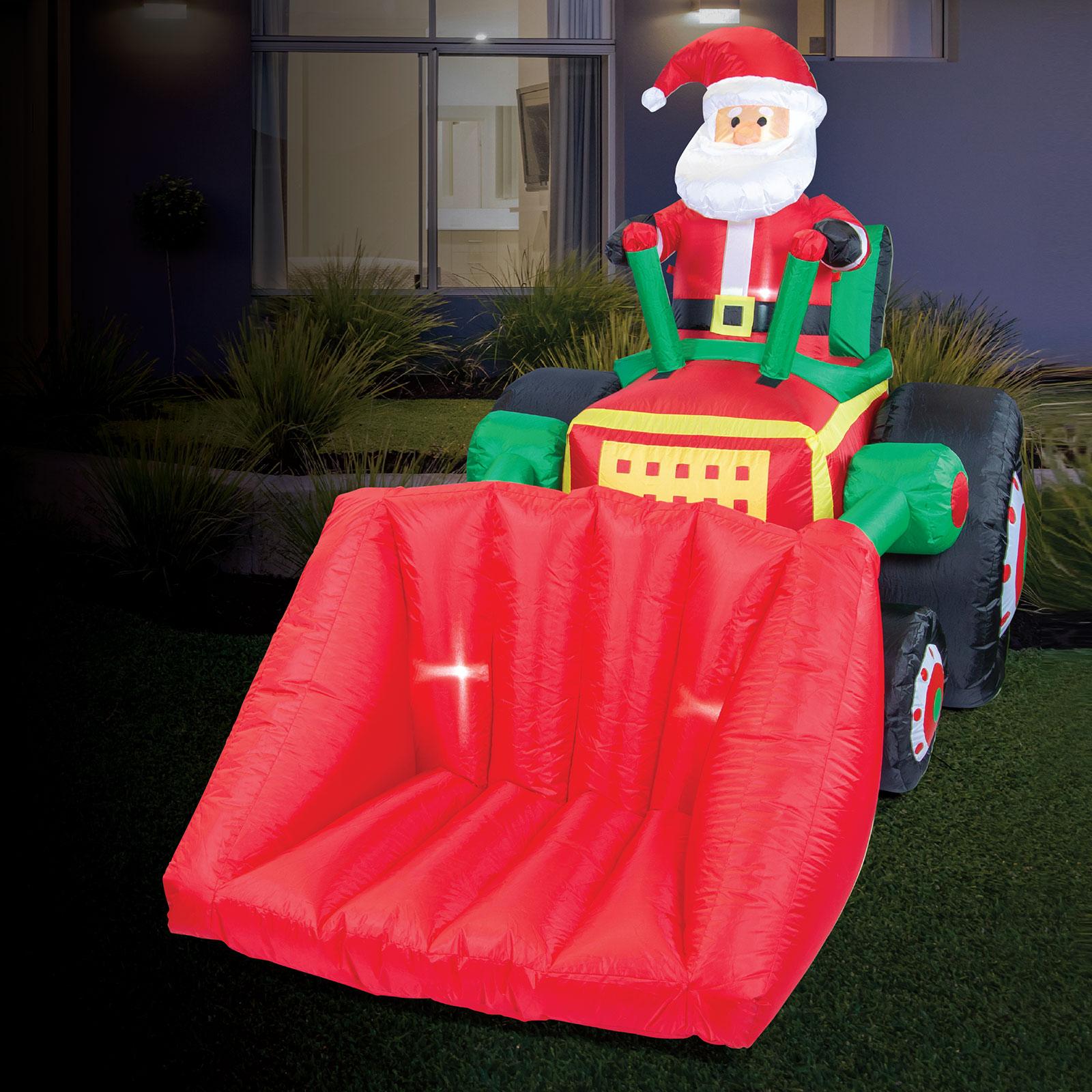 AIRPOWER SANTA Bulldozer Xmas Inflatable Decor Lights Up Indoor 2.15 x 1.5m