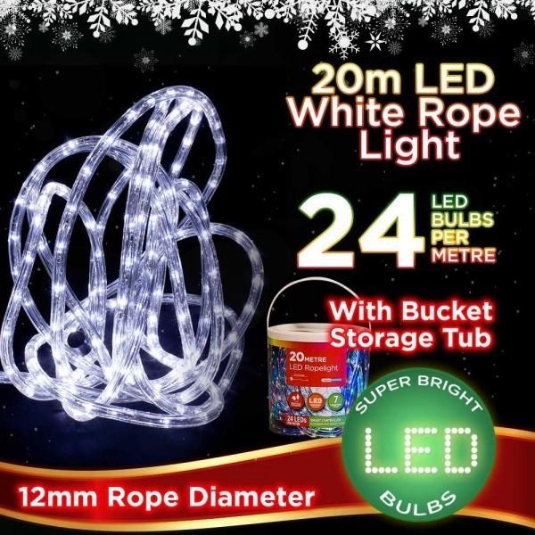 20m LED white rope christmas light